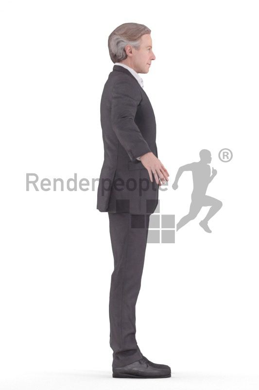 3d people business, rigged man in A Pose