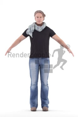 Rigged and retopologized 3D People model – middleaged european in casual outfit and scarf