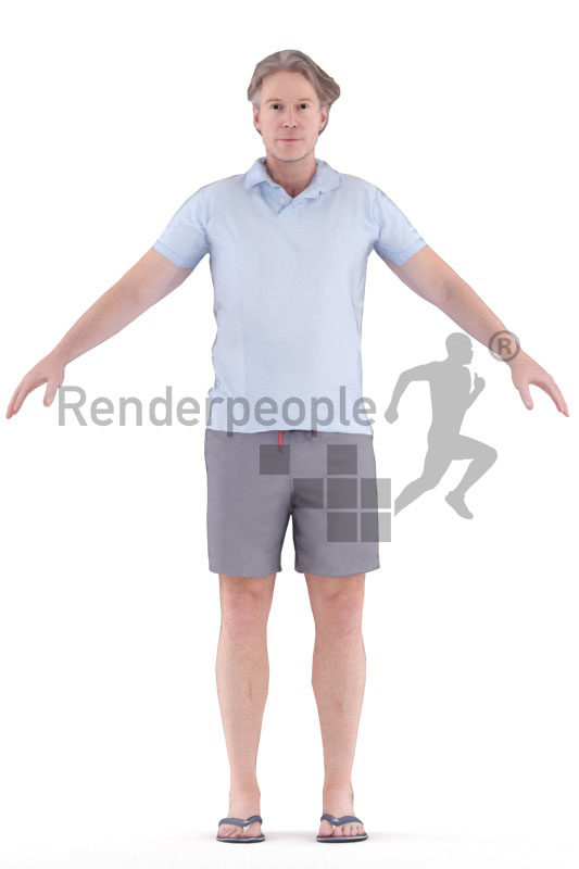 Rigged and retopologized 3D People model – middle aged man, casual