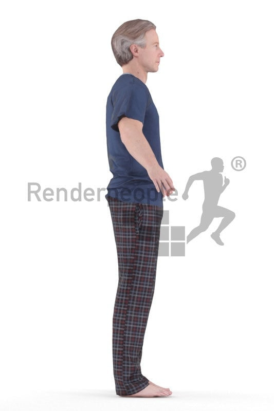 Rigged 3D People model for Maya and 3ds Max – elderly man in sleep wear