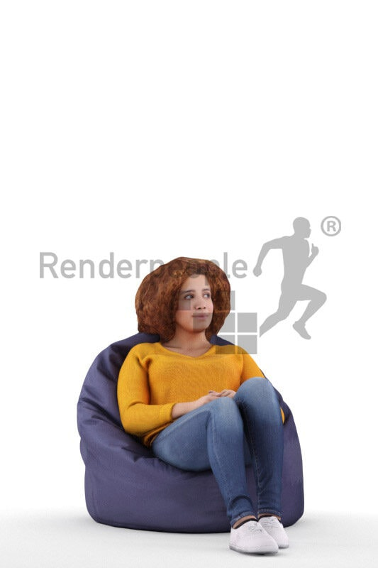 3D People model for 3ds Max and Maya – middle eastern woman in casual wear, sitting on a beanbag