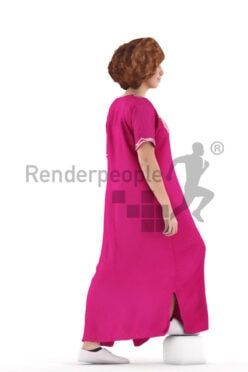 Scanned human 3D model by Renderpeople – middle eastern woman in traditional dress, walking upstairs