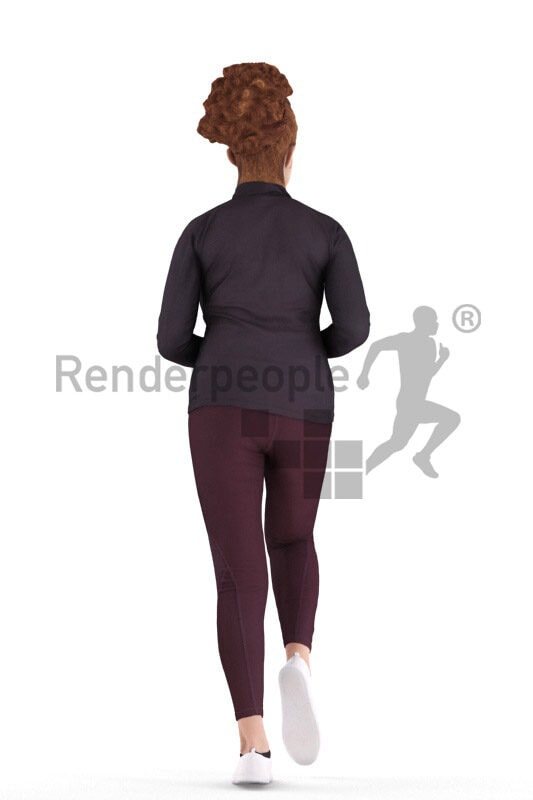 Photorealistic 3D People model by Renderpeople – middle eastern w oman in sports outfit, jogging