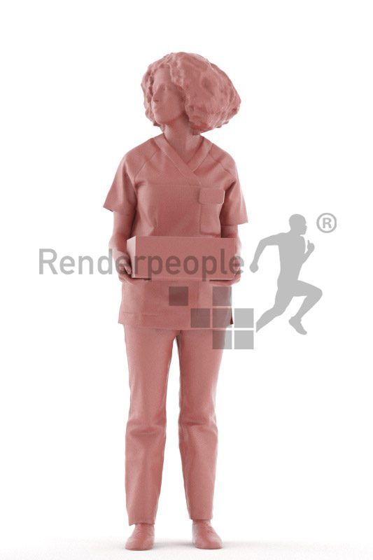 Posed 3D People model for visualization – middle eastern woman in healthcare outfit, carrying a box