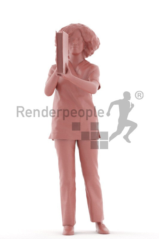Posed 3D People model for visualization – middle eastern woman in healtcare clothes, standing with folder
