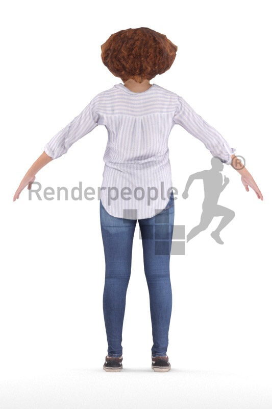 Rigged and retopologized 3D People model – middle eastern woman in smart casual look