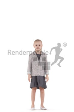 Animated 3D People model for 3ds Max and Maya – european girl in special ocassion dress, standing and waving