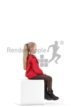 3d people casual, 3d white girl, sitting