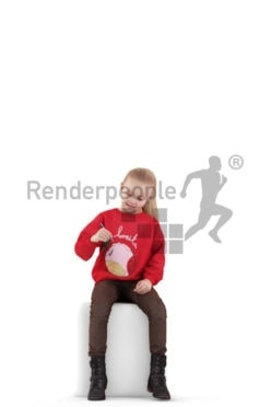 Photorealistic 3D People model by Renderpeople – little european girl, sitting and writing