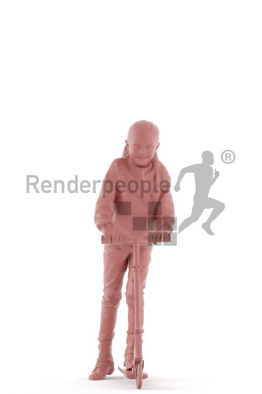 Photorealistic 3D People model by Renderpeople – little european girl on a scooter