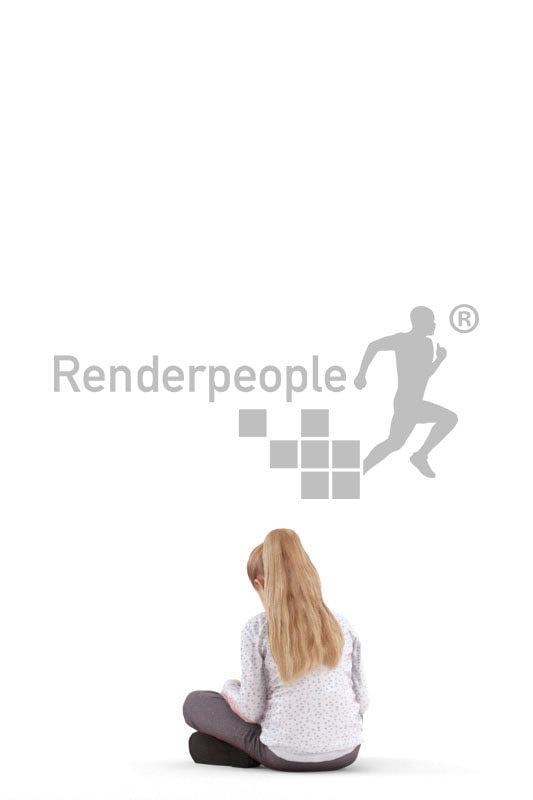 Photorealistic 3D People model by Renderpeople – little european girl reading
