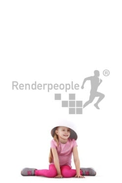 Photorealistic 3D People model by Renderpeople – little european girl playing