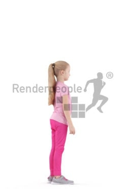 Scanned human 3D model by Renderpeople – little girl standing