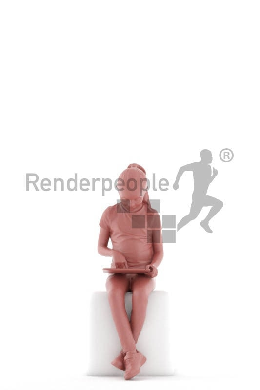 Scanned human 3D model by Renderpeople – little girl sitting with tablet