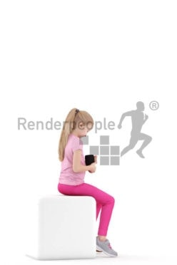 Scanned human 3D model by Renderpeople – little girl sitting with mug