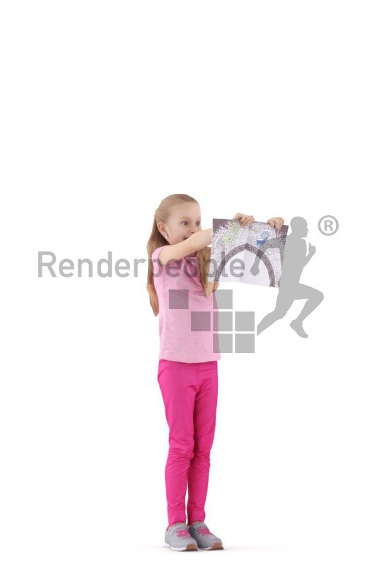 3D People model for 3ds Max and Sketch Up – girl with casual clothes, showing a painting