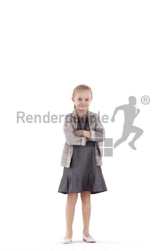 3D People model for 3ds Max and Blender – little girl, standing