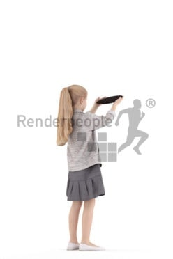 Posed 3D People model for renderings – girl, casual, holding a plate