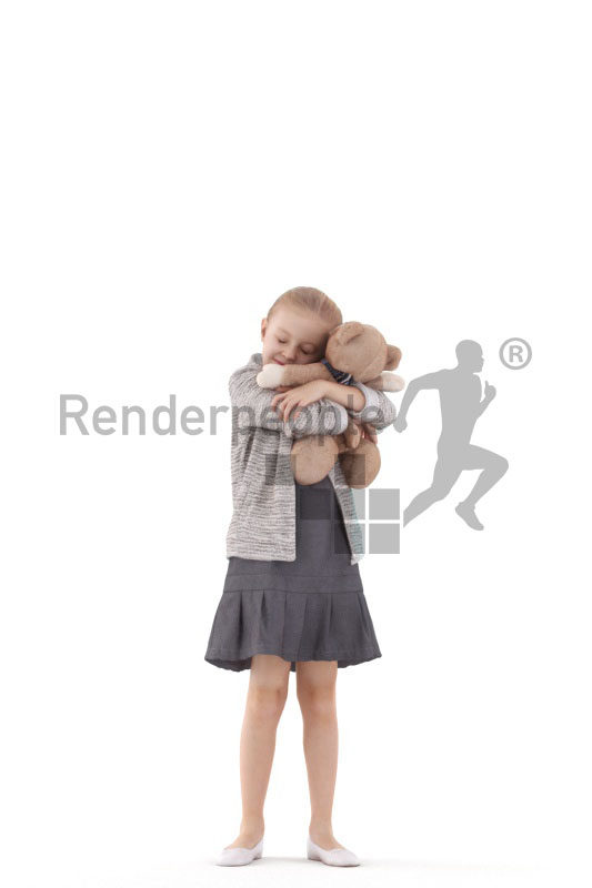 3d people casual, 3d white girl, cuddling with soft toy