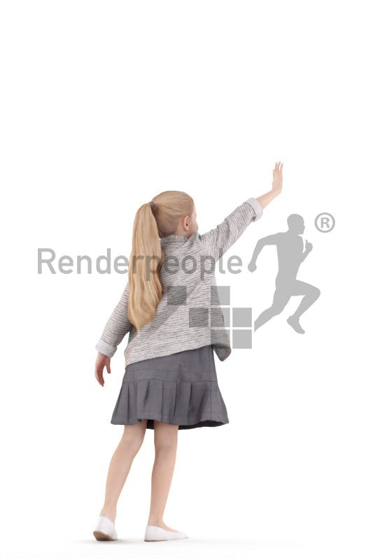 3D People model for 3ds Max and Sketch Up – girl with dress, saluting