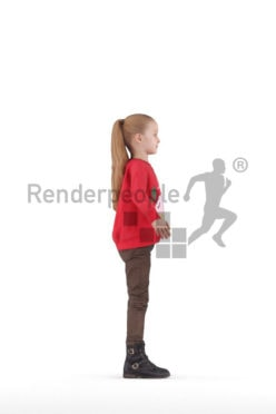 Rigged human 3D model by Renderpeople – little white girl in casual winter look