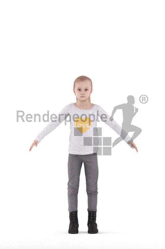 Rigged 3D People model for Maya and 3ds Max – little white girl in daily clothes