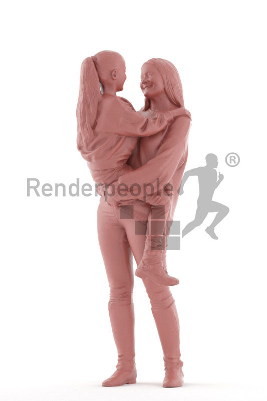 Realistic 3D People model by Renderpeople- European woman and girl interacting, casual