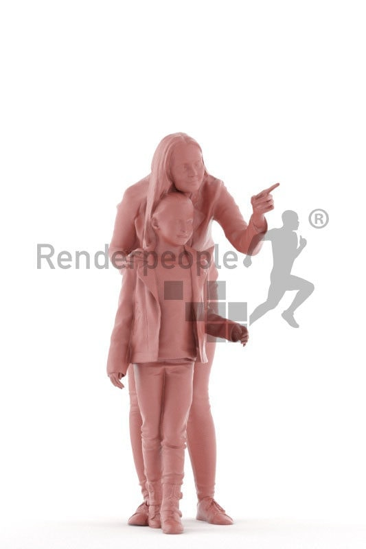 Posed 3D People model for visualization – european woman and girl, observing something