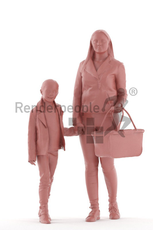 Photorealistic 3D People model by Renderpeople – european mother and daughter, holding hands at the supermarket