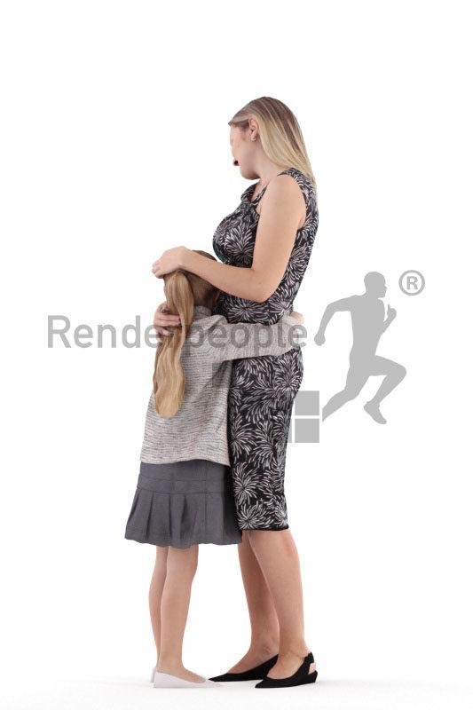 Photorealistic 3D People model by Renderpeople – european mother and daughter, hugging