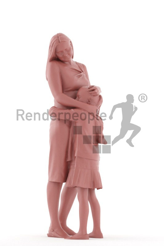 Photorealistic 3D People model by Renderpeople – european mother and daughter, hugging