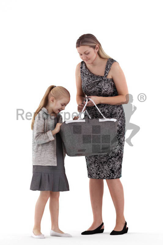 Posed 3D People model for renderings – mother and daughter interacting