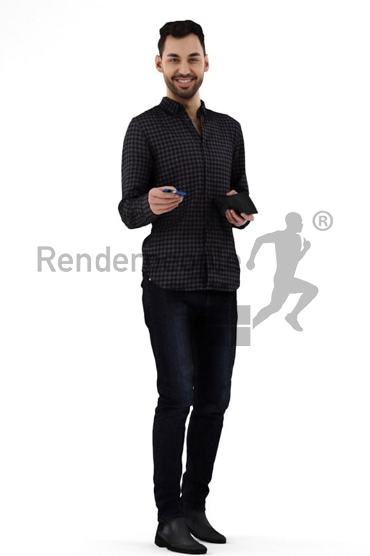 3d people casual, middle eastern 3d man paying with card