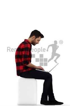 3d people casual, middle eastern 3d man sitting with his laptop on his lap