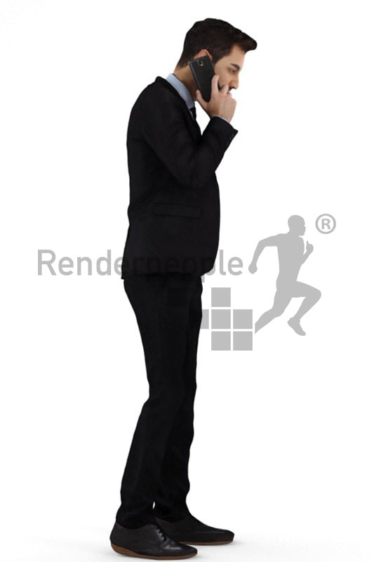 3d people business, middle eastern 3d man in a suit standing and talking on the phone