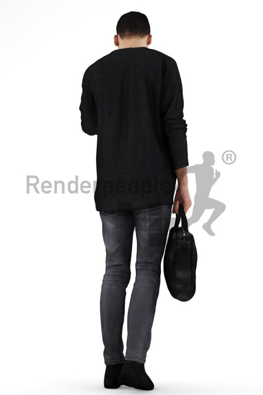 3d people casual, middle eastern 3d man checking his watch and carrying a bag
