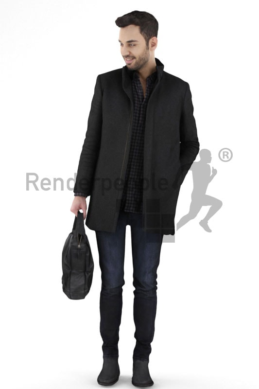 3d people casual, middle eastern 3d man carrying a bag