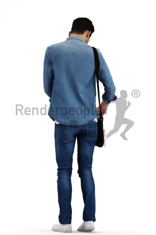 3d people casual, middle eastern 3d man standing and searching in his bag