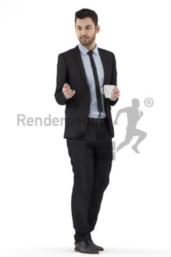 3d people business, white 3d man holding a cup and talking