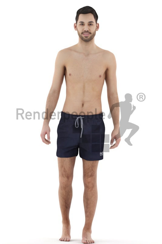 3d people beach, white 3d man walking in shorts