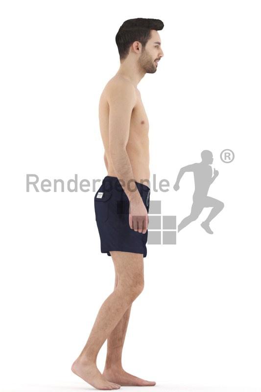 3d people beach, white 3d man walking in shorts