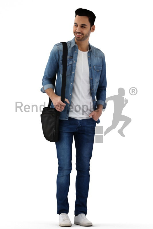 3d people casual, middle eastern 3d man standing and carrying bag