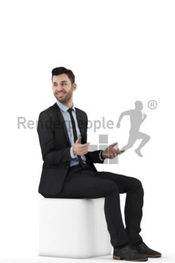 3d people business, middle eastern 3d man sitting and talking