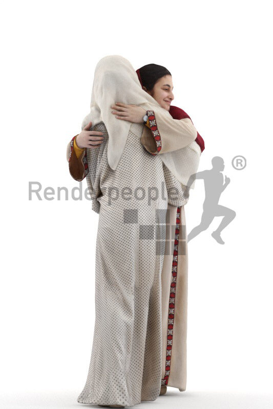 Photorealistic 3D People model by Renderpeople – two middle eastern females in traditional outfits, wearing headscarfs and hugging