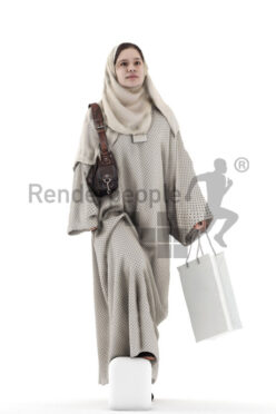 Posed 3D People model for visualization – middle eastern woman in traditional outfit, wearing headscard, walking upstairs with shopping bag