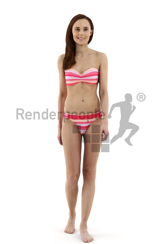 3d people beach, white 3d woman wearing a bikini