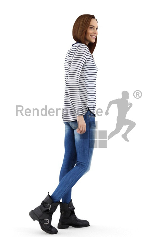 3d people casual, white 3d woman walking and smiling