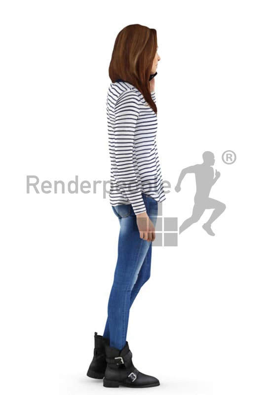 3d people casual, white 3d woman walking and talking on the phone