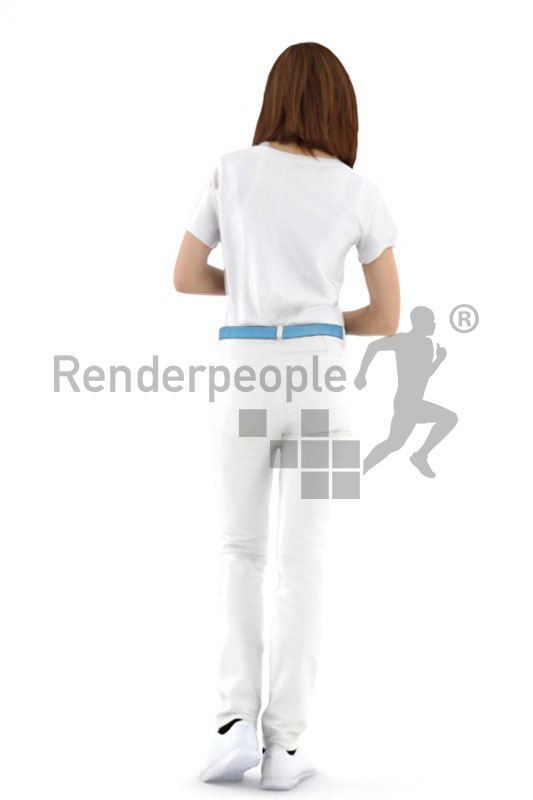 3d people service, white 3d woman holding a tablet