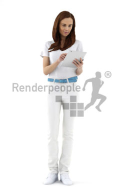 3d people service, white 3d woman using a tablet